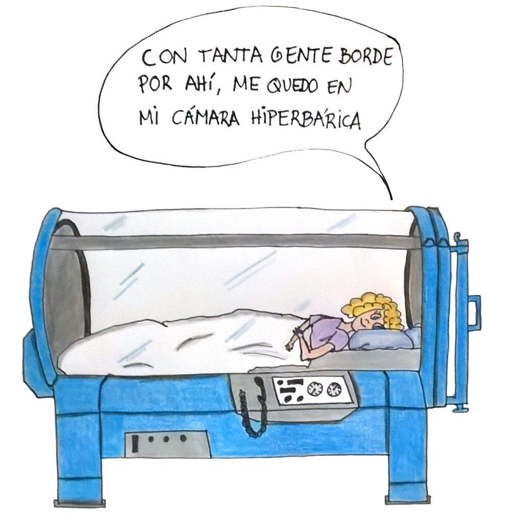 Mala en la cama hiperbarica
